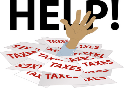 Person's hand sticking out of a pile of tax forms, word help on the background, EPS 8 vector illustration